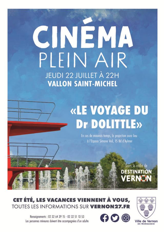 Le jeudi 22 juillet 2021, une séance de cinéma en plein air est organisée à Vernon, dans le cadre de Destionation Vernon.