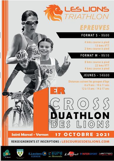 le cross duathlon des Lions Triathlons aura lieu le 17 octobre 2021 à Saint-Marcel